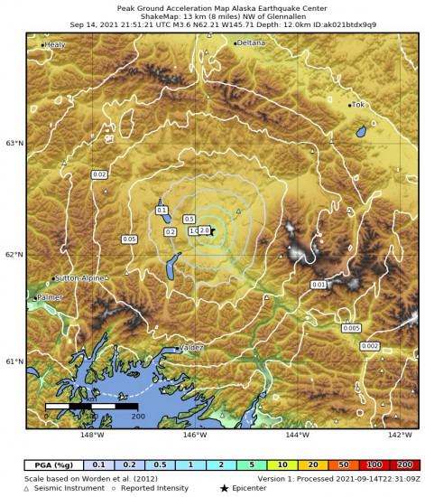 Peak Ground Acceleration Map for the Glennallen, Alaska 3.6m Earthquake, Tuesday Sep. 14 2021, 1:51:21 PM
