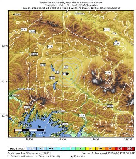 Peak Ground Velocity Map for the Glennallen, Alaska 3.6m Earthquake, Tuesday Sep. 14 2021, 1:51:21 PM