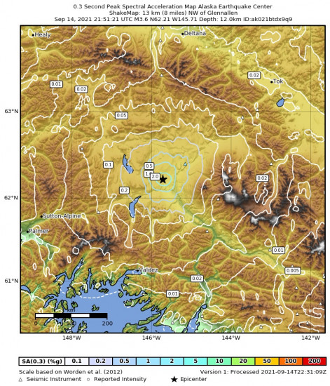 0.3 Second Peak Spectral Acceleration Map for the Glennallen, Alaska 3.6m Earthquake, Tuesday Sep. 14 2021, 1:51:21 PM