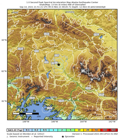 1 Second Peak Spectral Acceleration Map for the Glennallen, Alaska 3.6m Earthquake, Tuesday Sep. 14 2021, 1:51:21 PM