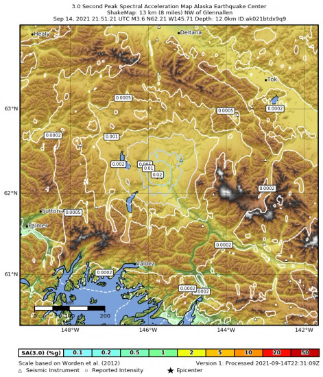 3 Second Peak Spectral Acceleration Map for the Glennallen, Alaska 3.6m Earthquake, Tuesday Sep. 14 2021, 1:51:21 PM