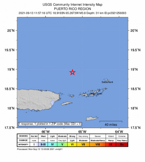 Community Internet Intensity Map for the Culebra, Puerto Rico 3.76m Earthquake, Monday Sep. 13 2021, 7:57:16 AM