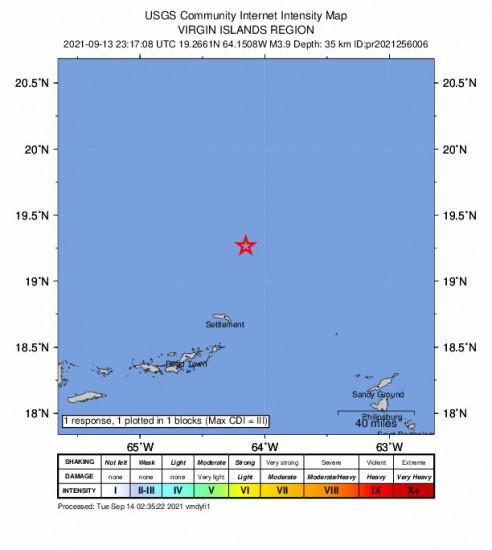 GEO Community Internet Intensity Map for the Cruz Bay, U.s. Virgin Islands 3.85m Earthquake, Monday Sep. 13 2021, 7:17:08 PM