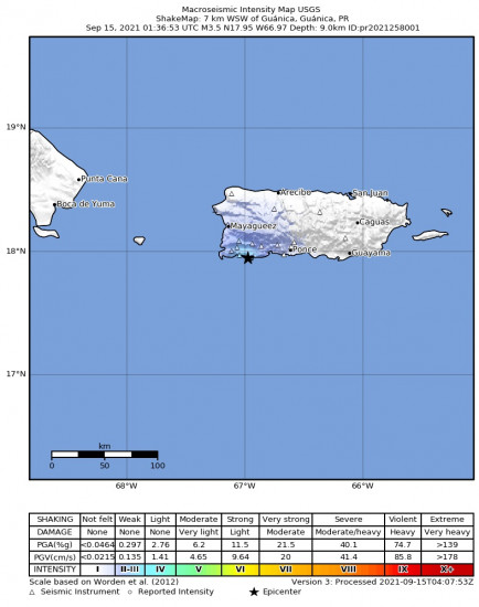 Macroseismic Intensity Map for the Guánica, Puerto Rico 3.47m Earthquake, Tuesday Sep. 14 2021, 9:36:53 PM