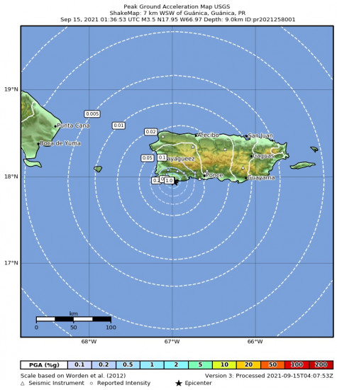 Peak Ground Acceleration Map for the Guánica, Puerto Rico 3.47m Earthquake, Tuesday Sep. 14 2021, 9:36:53 PM
