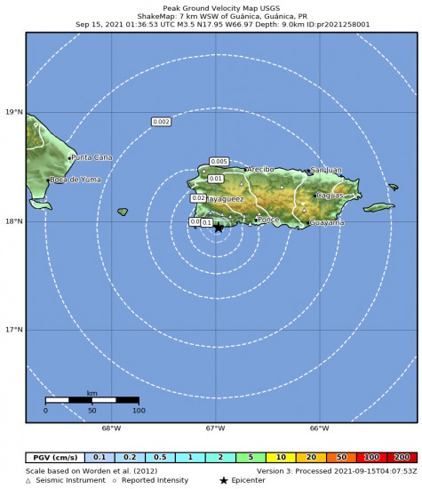 Peak Ground Velocity Map for the Guánica, Puerto Rico 3.47m Earthquake, Tuesday Sep. 14 2021, 9:36:53 PM