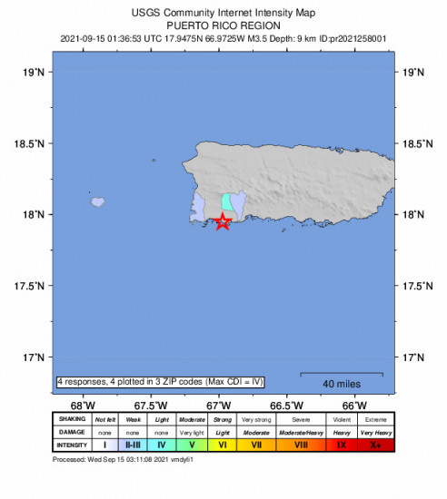 Community Internet Intensity Map for the Guánica, Puerto Rico 3.47m Earthquake, Tuesday Sep. 14 2021, 9:36:53 PM