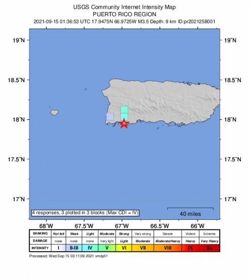 GEO Community Internet Intensity Map for the Guánica, Puerto Rico 3.47m Earthquake, Tuesday Sep. 14 2021, 9:36:53 PM