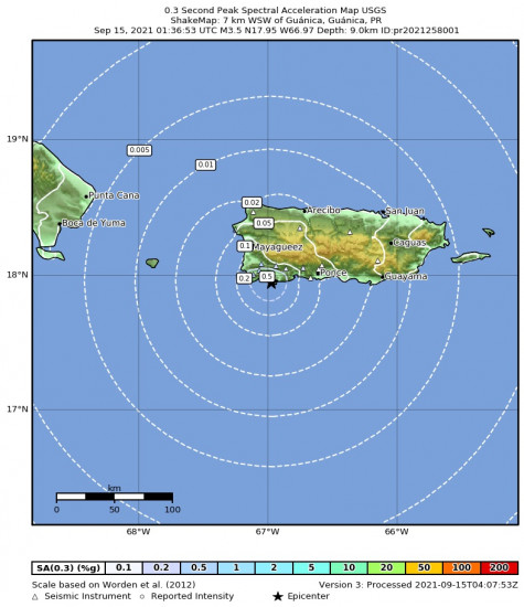 0.3 Second Peak Spectral Acceleration Map for the Guánica, Puerto Rico 3.47m Earthquake, Tuesday Sep. 14 2021, 9:36:53 PM