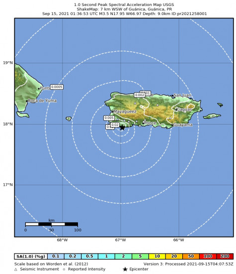 1 Second Peak Spectral Acceleration Map for the Guánica, Puerto Rico 3.47m Earthquake, Tuesday Sep. 14 2021, 9:36:53 PM