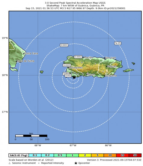 3 Second Peak Spectral Acceleration Map for the Guánica, Puerto Rico 3.47m Earthquake, Tuesday Sep. 14 2021, 9:36:53 PM