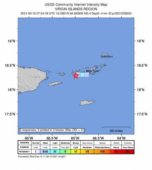 GEO Community Internet Intensity Map for the Charlotte Amalie, U.s. Virgin Islands 3.37m Earthquake, Wednesday Sep. 15 2021, 3:24:18 AM