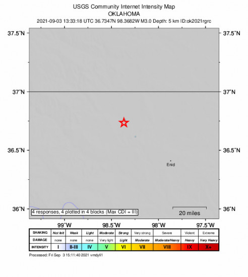GEO Community Internet Intensity Map for the Cherokee, Oklahoma 2.98m Earthquake, Friday Sep. 03 2021, 8:33:18 AM