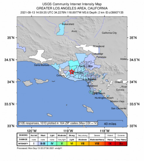 Community Internet Intensity Map for the Thousand Oaks, Ca 3.62m Earthquake, Monday Sep. 13 2021, 7:59:35 AM
