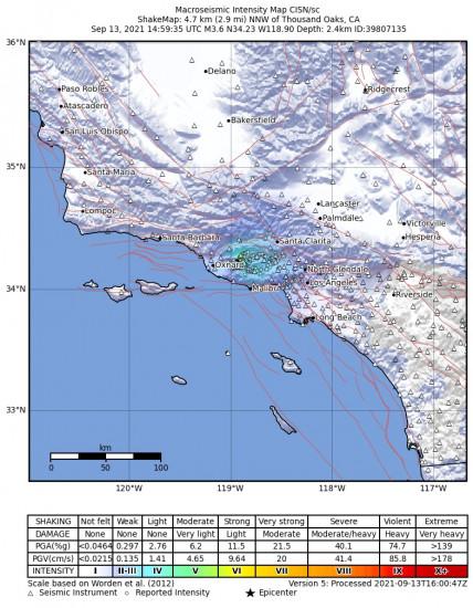 Macroseismic Intensity Map for the Thousand Oaks, Ca 3.62m Earthquake, Monday Sep. 13 2021, 7:59:35 AM