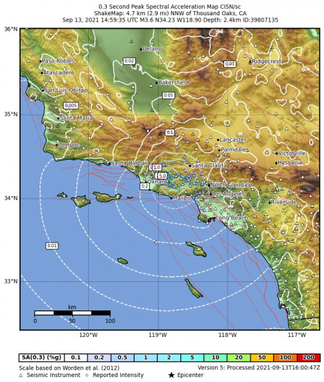 0.3 Second Peak Spectral Acceleration Map for the Thousand Oaks, Ca 3.62m Earthquake, Monday Sep. 13 2021, 7:59:35 AM