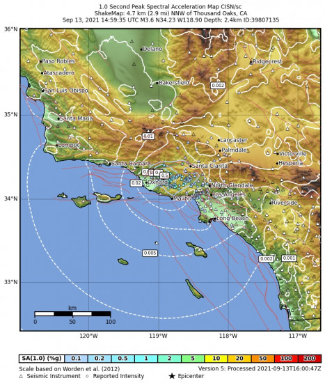 1 Second Peak Spectral Acceleration Map for the Thousand Oaks, Ca 3.62m Earthquake, Monday Sep. 13 2021, 7:59:35 AM
