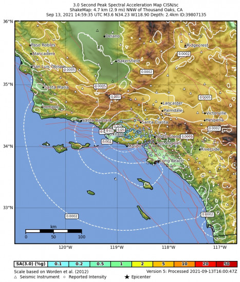 3 Second Peak Spectral Acceleration Map for the Thousand Oaks, Ca 3.62m Earthquake, Monday Sep. 13 2021, 7:59:35 AM