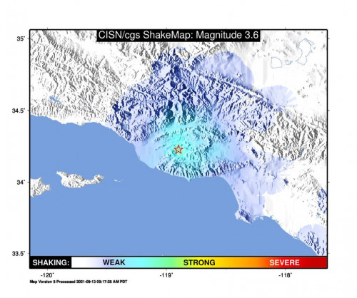 Shakemap Bare for the Thousand Oaks, Ca 3.62m Earthquake, Monday Sep. 13 2021, 7:59:35 AM