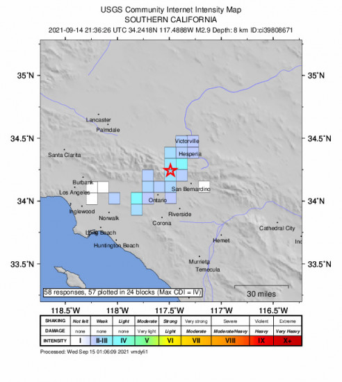 GEO Community Internet Intensity Map for the Lytle Creek, Ca 2.87m Earthquake, Tuesday Sep. 14 2021, 2:36:26 PM
