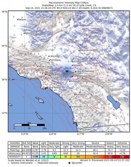 Macroseismic Intensity Map for the Lytle Creek, Ca 2.87m Earthquake, Tuesday Sep. 14 2021, 2:36:26 PM