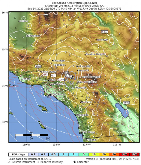 Peak Ground Acceleration Map for the Lytle Creek, Ca 2.87m Earthquake, Tuesday Sep. 14 2021, 2:36:26 PM
