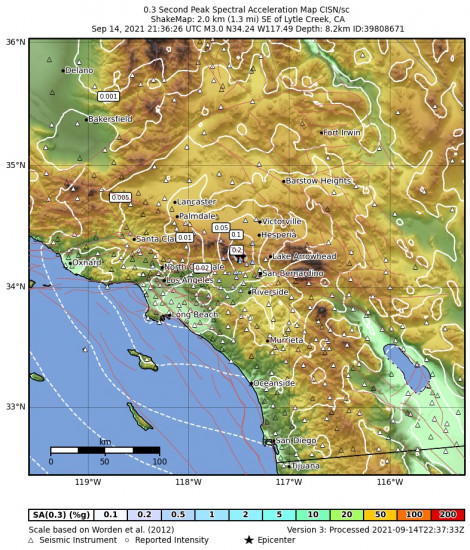 0.3 Second Peak Spectral Acceleration Map for the Lytle Creek, Ca 2.87m Earthquake, Tuesday Sep. 14 2021, 2:36:26 PM