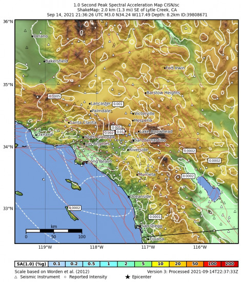 1 Second Peak Spectral Acceleration Map for the Lytle Creek, Ca 2.87m Earthquake, Tuesday Sep. 14 2021, 2:36:26 PM