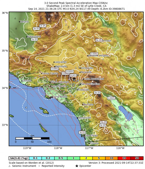 3 Second Peak Spectral Acceleration Map for the Lytle Creek, Ca 2.87m Earthquake, Tuesday Sep. 14 2021, 2:36:26 PM