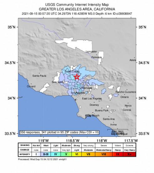 Community Internet Intensity Map for the San Fernando, Ca 2.97m Earthquake, Tuesday Sep. 14 2021, 5:57:35 PM