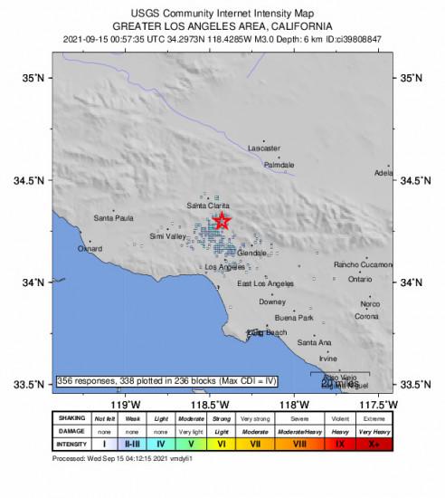 GEO Community Internet Intensity Map for the San Fernando, Ca 2.97m Earthquake, Tuesday Sep. 14 2021, 5:57:35 PM