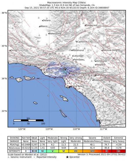 Macroseismic Intensity Map for the San Fernando, Ca 2.97m Earthquake, Tuesday Sep. 14 2021, 5:57:35 PM