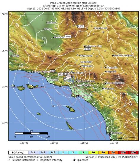 Peak Ground Acceleration Map for the San Fernando, Ca 2.97m Earthquake, Tuesday Sep. 14 2021, 5:57:35 PM