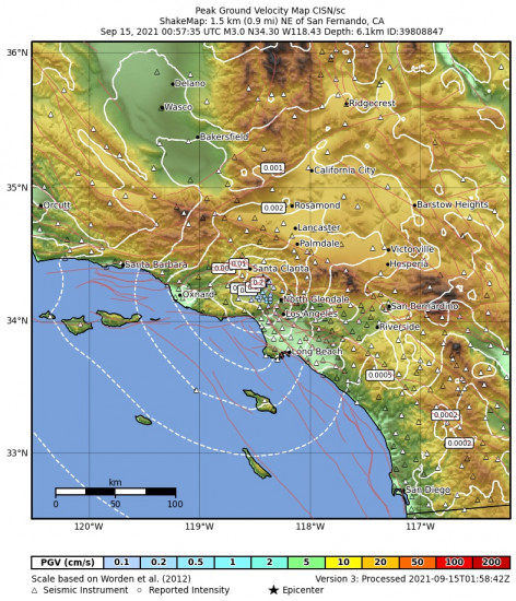 Peak Ground Velocity Map for the San Fernando, Ca 2.97m Earthquake, Tuesday Sep. 14 2021, 5:57:35 PM