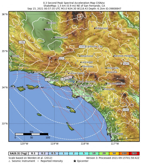 0.3 Second Peak Spectral Acceleration Map for the San Fernando, Ca 2.97m Earthquake, Tuesday Sep. 14 2021, 5:57:35 PM
