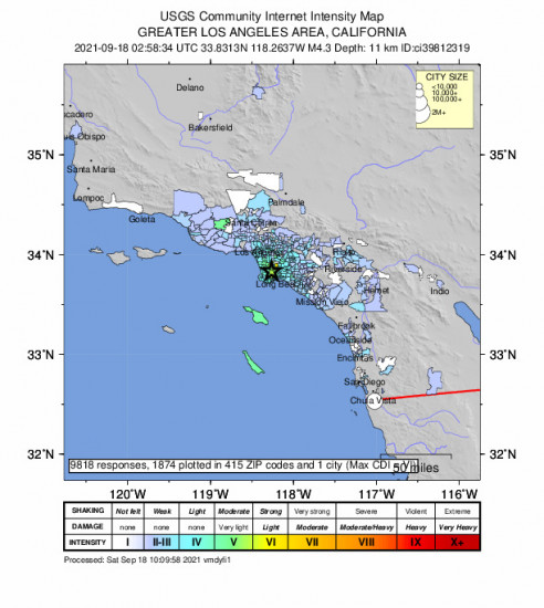 Community Internet Intensity Map for the Carson, Ca 4.28m Earthquake, Friday Sep. 17 2021, 7:58:34 PM