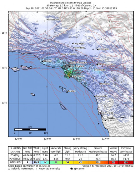 Macroseismic Intensity Map for the Carson, Ca 4.28m Earthquake, Friday Sep. 17 2021, 7:58:34 PM