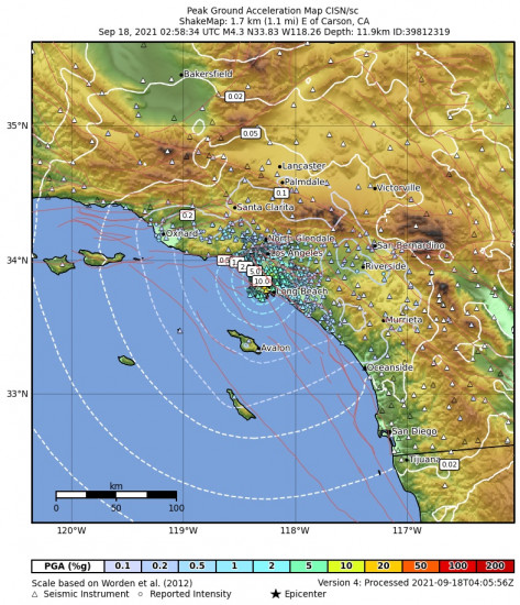 Peak Ground Acceleration Map for the Carson, Ca 4.28m Earthquake, Friday Sep. 17 2021, 7:58:34 PM