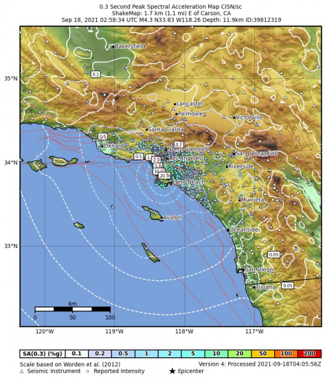 0.3 Second Peak Spectral Acceleration Map for the Carson, Ca 4.28m Earthquake, Friday Sep. 17 2021, 7:58:34 PM