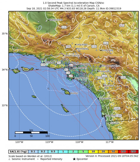 1 Second Peak Spectral Acceleration Map for the Carson, Ca 4.28m Earthquake, Friday Sep. 17 2021, 7:58:34 PM