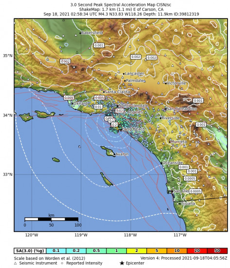 3 Second Peak Spectral Acceleration Map for the Carson, Ca 4.28m Earthquake, Friday Sep. 17 2021, 7:58:34 PM