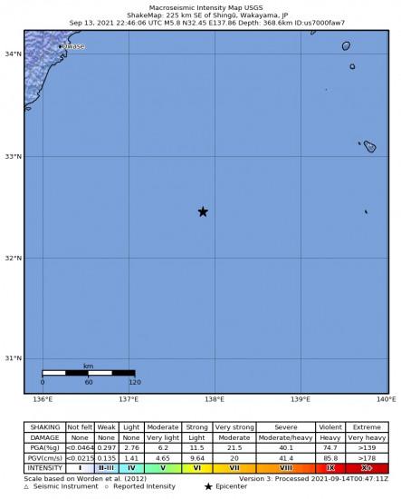 Macroseismic Intensity Map for the Shingū, Japan 5.8m Earthquake, Tuesday Sep. 14 2021, 7:46:06 AM