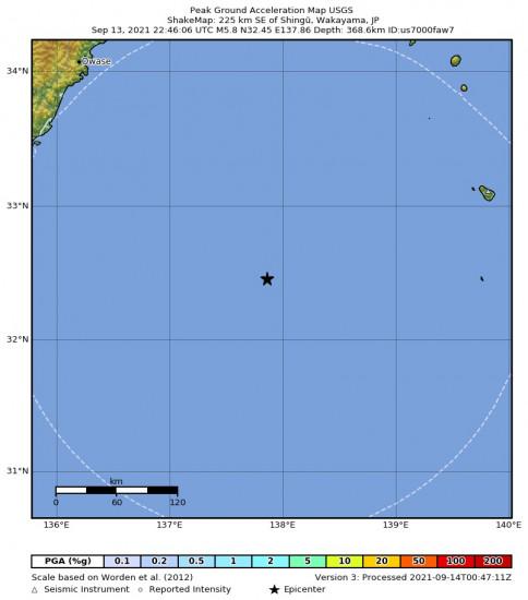 Peak Ground Acceleration Map for the Shingū, Japan 5.8m Earthquake, Tuesday Sep. 14 2021, 7:46:06 AM