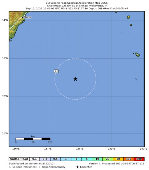 0.3 Second Peak Spectral Acceleration Map for the Shingū, Japan 5.8m Earthquake, Tuesday Sep. 14 2021, 7:46:06 AM