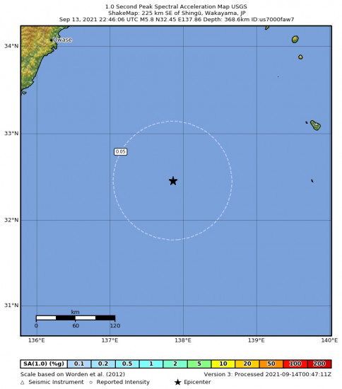 1 Second Peak Spectral Acceleration Map for the Shingū, Japan 5.8m Earthquake, Tuesday Sep. 14 2021, 7:46:06 AM