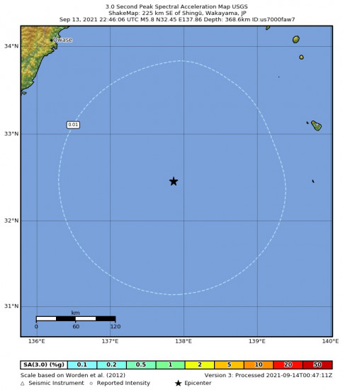 3 Second Peak Spectral Acceleration Map for the Shingū, Japan 5.8m Earthquake, Tuesday Sep. 14 2021, 7:46:06 AM
