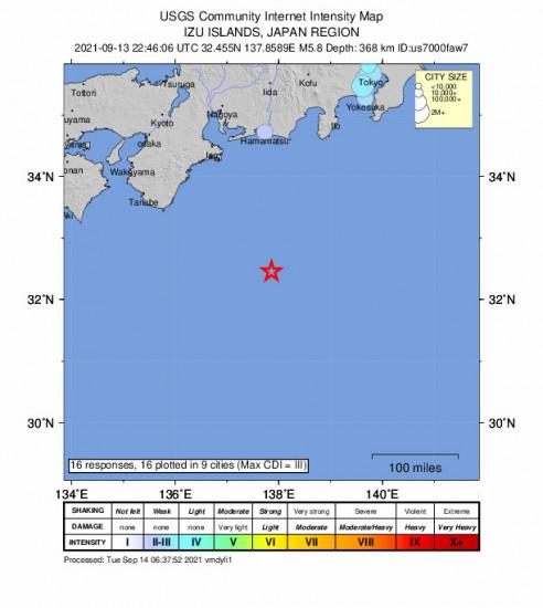 Community Internet Intensity Map for the Shingū, Japan 5.8m Earthquake, Tuesday Sep. 14 2021, 7:46:06 AM