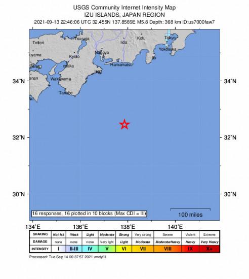 GEO Community Internet Intensity Map for the Shingū, Japan 5.8m Earthquake, Tuesday Sep. 14 2021, 7:46:06 AM