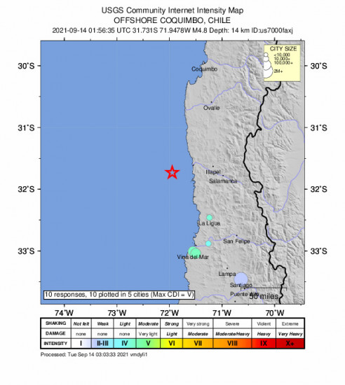 Community Internet Intensity Map for the Illapel, Chile 4.8m Earthquake, Monday Sep. 13 2021, 10:56:35 PM