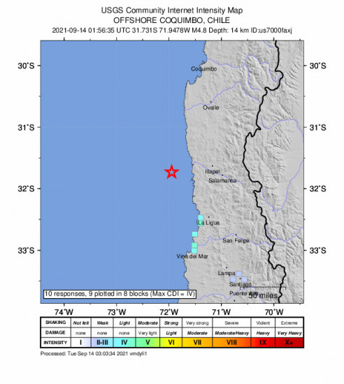GEO Community Internet Intensity Map for the Illapel, Chile 4.8m Earthquake, Monday Sep. 13 2021, 10:56:35 PM